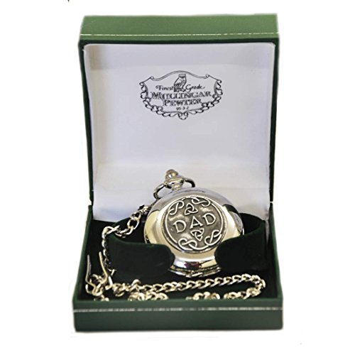 Mullingar Pewter Stainless Steel Pocket Watch With Celtic Shamrock Design