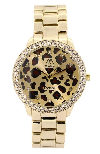 Mabz London Damen strass uhr Leopardenmuster goldenes Ziffernblatt goldenes Armband