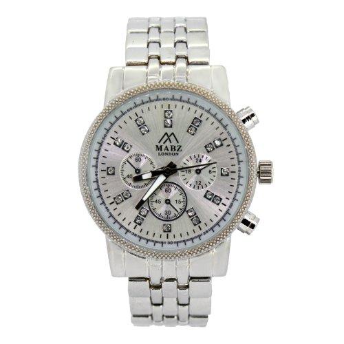 Mabz London Designer Silber In Chronograph Optik inkl Geschenk box Uhrenbox