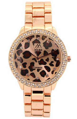 Mabz London Leopardenmuster gold rosefarbenes Ziffernblatt gold rosefarbenes Armband