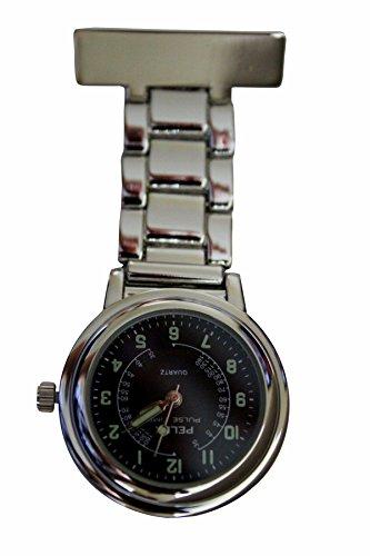 Pelex Pulse Time Silber mit Schwarz Gesicht Leucht Haende Metall Krankenschwestern AErzte Sanitaeter FOB Uhren Broschen zusaetzliche Batterie