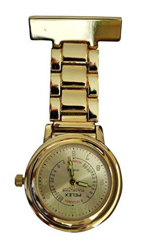 Pelex Pulse Time Gold mit Gold Gesicht Leucht Haende Metall Krankenschwestern AErzte Sanitaeter FOB Uhren Broschen zusaetzliche Batterie