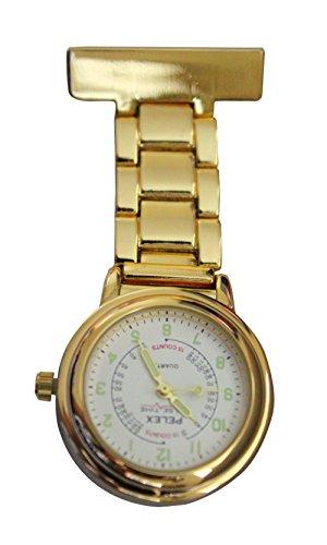 Pelex Pulse Time Gold mit Weissem Gesicht Leucht Haende Metall Krankenschwestern AErzte Sanitaeter FOB Uhren Broschen zusaetzliche Batterie