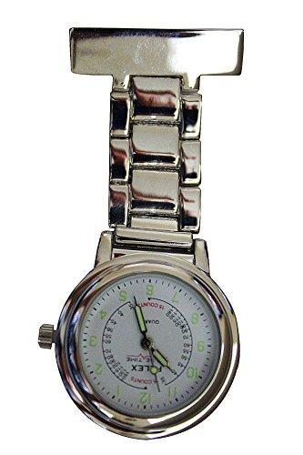Pelex Pulse Time Silber mit Weissem Gesicht Leucht Haende Metall Krankenschwestern AErzte Sanitaeter FOB Uhren Broschen zusaetzliche Batterie