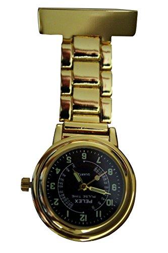 Pelex Pulse Time Gold mit Schwarz Gesicht Leucht Haende Metall Krankenschwestern AErzte Sanitaeter FOB Uhren Broschen zusaetzliche Batterie