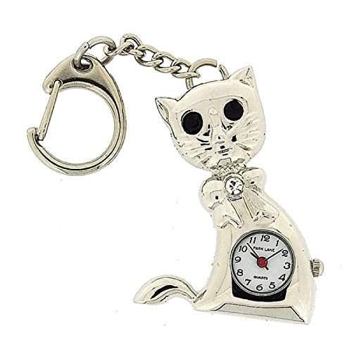 PAR LANE PLKR16 silberfarbener Katzen-Schluesselanhaenger mit analoger Uhr in Geschenkschachtel