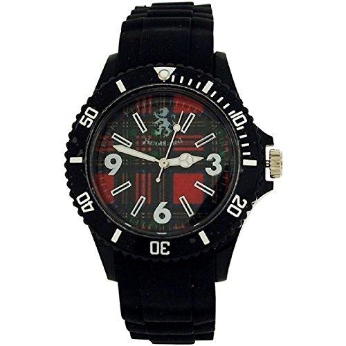 Scotland unisex analoge Tartan schwarzes Zifferbl schwarzes Armband Uhr SCOT01