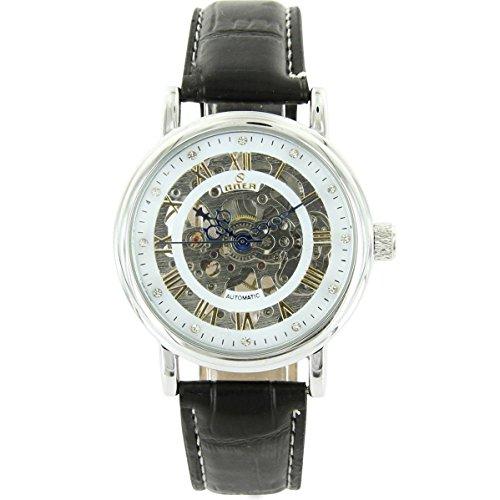Uhren automatische Herren Armbanduhr Mechanische und Leder schwarz XXL 2172
