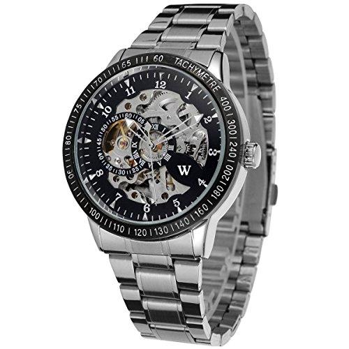 Uhren automatische Herren Automatik Herrenuhr Stahl Silber W2