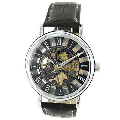 Uhren automatische Herren Herrenuhr mechanische Leder schwarz XXL 2171