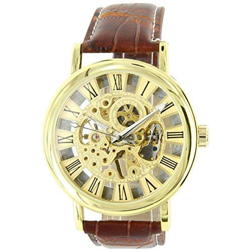 Uhren automatische Herren Armbanduhr Mechanische Leder braun XXL 2155