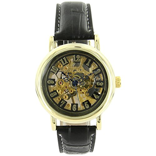 Uhren automatische Herren Zeigt D Herren Mechanische Leder Schwarz XXL 2229