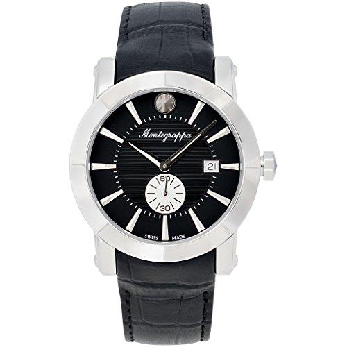 Montegrappa Nero Uno Uhr Schweizer Quartz Uhrwerk Ronda 6004 IDNUWAIB