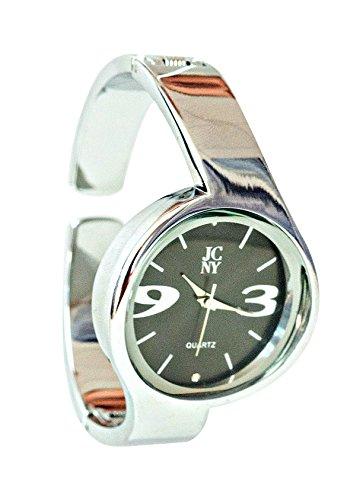 Elegante modern mit Ziffern in grau silber und schwarz hochwertiges Japan Uhrwerk analoge Anzeige und Armreif Marken Uhr von Jimmy Crystal New York