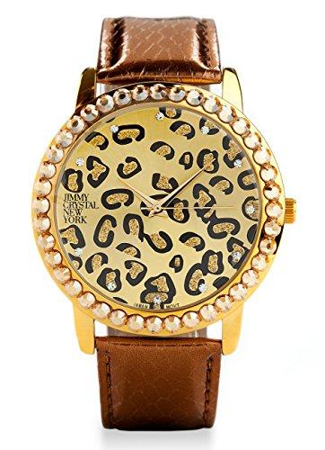Elegante und moderne in braun gold glitzer und silber mit Swarovski Strass Elements hochwertiges Uhrwerk 45mm Leo Muster Marke Jimmy Crystal New York