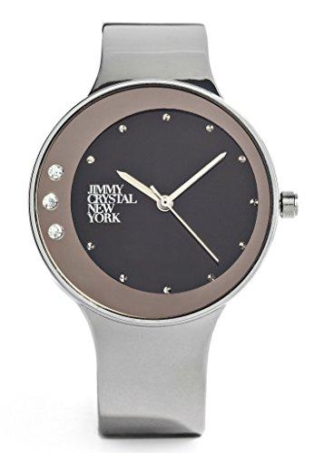 Elegante mit glitzer Strass elements modern mit Ziffern in grau silber und schwarz hochwertiges Japan Uhrwerk analoge Anzeige und Armreif Marken Uhr von Jimmy Crystal New York