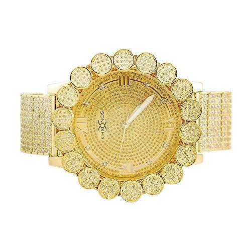 Herren Khronos Gold Ton Icy Lab Diamant Cluster Luenette Uhr mit Full Iced Out Band