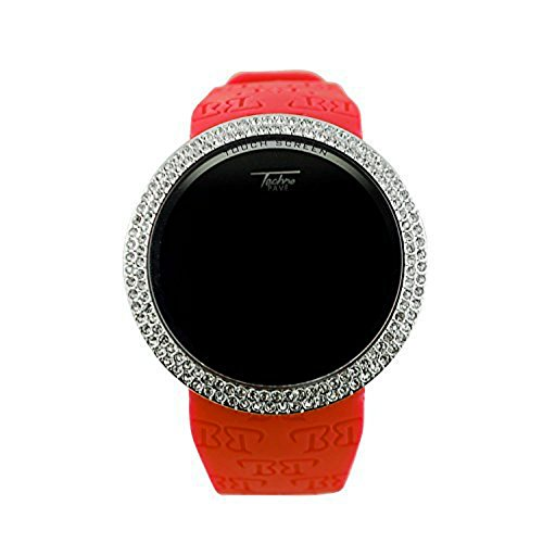Techno Pave Iced Out Bling Lab Diamant Silber Rot Digital Touch Bildschirm Sport Armbanduhr Gummi Band