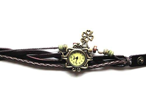 Braun Leder Armbanduhr vier Leaf Vintage Damen Armband Uhr Geschenk fuer sie