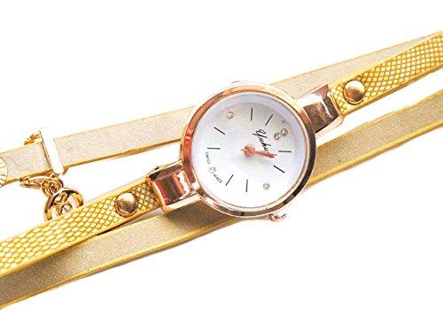 Gelb Vintage Armbanduhr fuer Sie Gurt Fashion Leder Uhr Geschenk Tasche enthalten