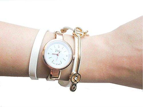 Weiss Vintage Armbanduhr fuer Sie Gurt Fashion Leder Uhr Geschenk Tasche enthalten