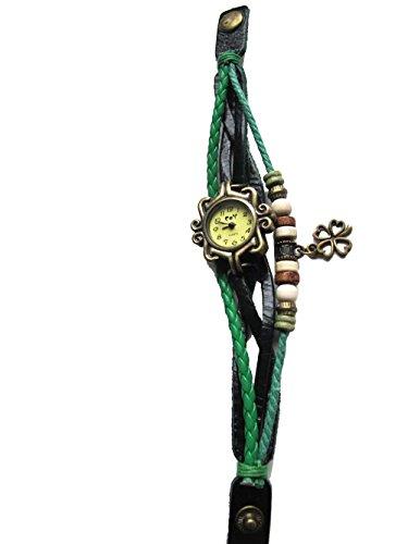Gruen Vintage Leder Armbanduhr vier Leaf Clover Quarz Uhr Hand Knit Damen Armband Armbanduhr