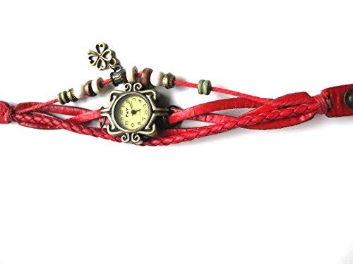 Rot Vintage Leder Armbanduhr vier Leaf Clover Quarz Uhr Hand Knit Damen Armband Armbanduhr