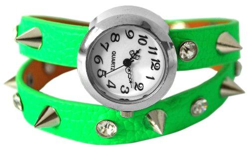 Kaltner Praesente Wickel Armbanduhr mit Leder Armband Farbe Gruen Strass Steinchen und Killer Nieten Analog Quarz
