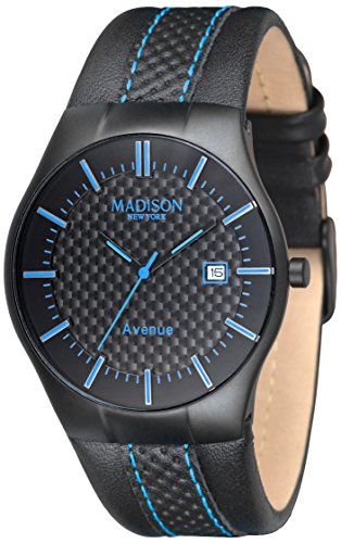 MADISON NEW YORK Unisex Armbanduhr Avenue Analog Quarz Leder G4785C