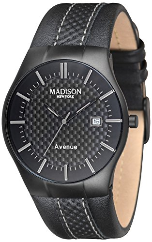 MADISON NEW YORK Unisex Armbanduhr Avenue Analog Quarz Leder G4785D
