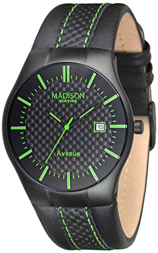 MADISON NEW YORK Unisex Armbanduhr Avenue Analog Quarz Leder G4785E