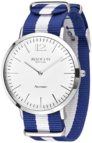 MADISON NEW YORK Unisex Armbanduhr Avenue Analog Quarz Nylon G4741F1