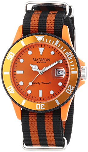 MADISON NEW YORK Unisex Armbanduhr Candy Time Sailor Analog Quarz Nylon U4616 04 1