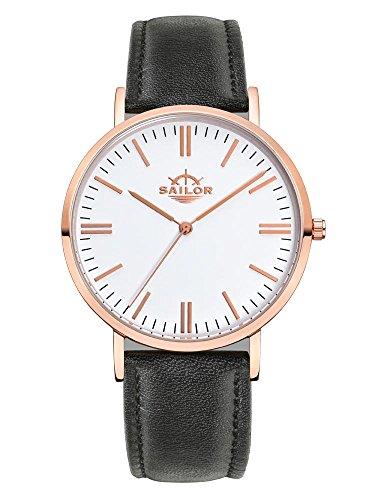 Armbanduhr Sailor Classic Basic black mit Armband aus Leder
