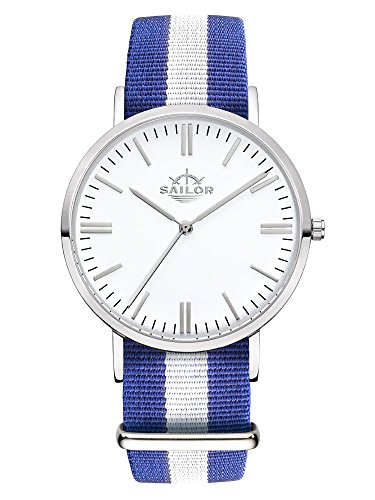 Armbanduhr Sailor Classic Captain silber mit Armband aus Nylon