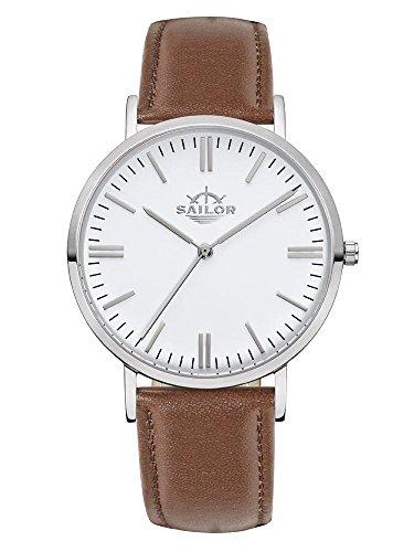 Armbanduhr Sailor Classic Basic brown silber mit Armband aus Leder