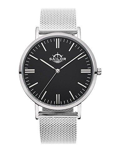 Sailor Armbanduhr Classic Style silber mit Milanaise Armband Farbe Ziffernblatt schwarz Durchmesser 36mm