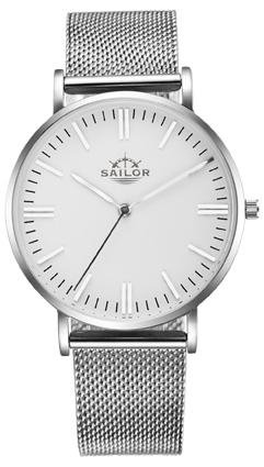 Sailor Armbanduhr Classic Style silber mit Milanaise Armband Farbe Ziffernblatt weiss Durchmesser 36mm