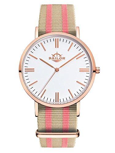 Sailor Armbanduhr Classic Banks mit Nylonarmband Farbe Ziffernblatt weiss Durchmesser 40mm