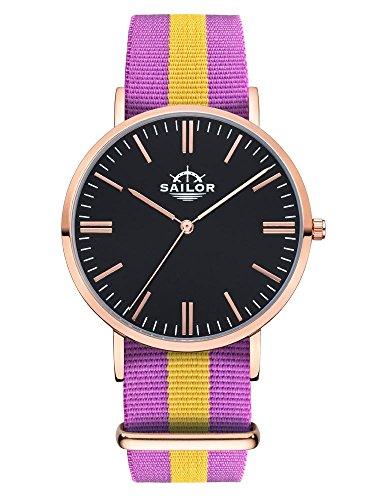 Sailor Armbanduhr Classic Port Antonio mit Nylonarmband Farbe Ziffernblatt schwarz Durchmesser 40mm