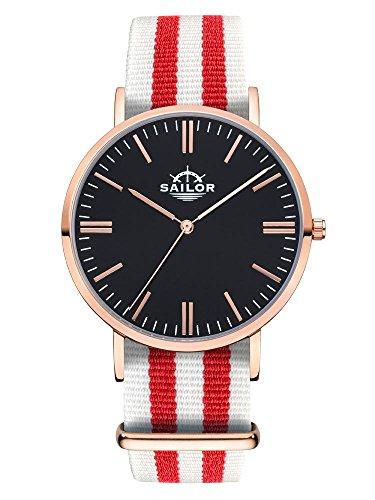 Sailor Armbanduhr Classic Negril mit Nylonarmband Farbe Ziffernblatt schwarz Durchmesser 40mm
