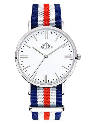 Sailor Armbanduhr Classic Marine silver mit Nylonarmband Farbe Ziffernblatt weiss Durchmesser 36mm