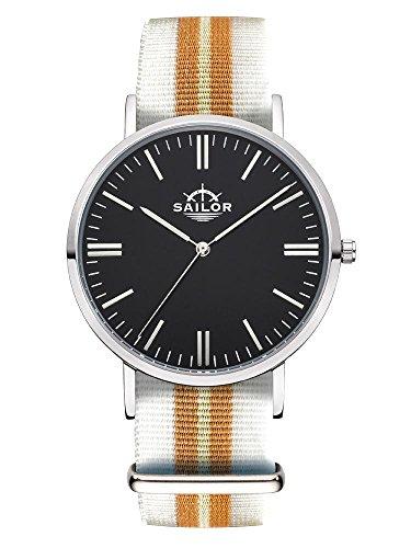 Sailor Armbanduhr Classic Beach silver mit Nylonarmband Farbe Ziffernblatt schwarz Durchmesser 36mm