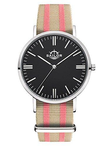 Sailor Armbanduhr Classic Banks silver mit Nylonarmband Farbe Ziffernblatt schwarz Durchmesser 40mm