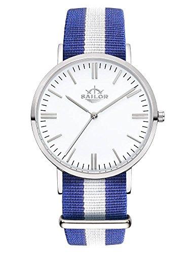 Sailor Armbanduhr Classic Captain silver mit Nylonarmband Farbe Ziffernblatt weiss Durchmesser 36mm