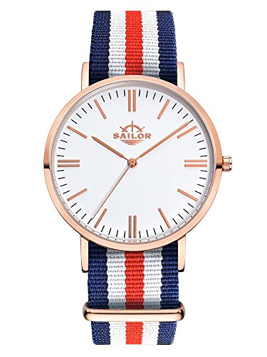 Sailor Armbanduhr Classic Marine mit Nylonarmband Farbe Ziffernblatt weiss Durchmesser 36mm