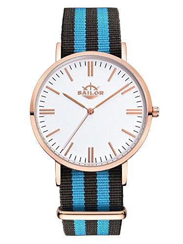 Sailor Armbanduhr Classic Black Ocean mit Nylonarmband Farbe Ziffernblatt weiss Durchmesser 40mm