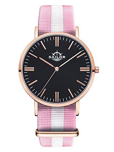 Sailor Armbanduhr Classic Sun mit Nylonarmband Farbe Ziffernblatt schwarz Durchmesser 40mm