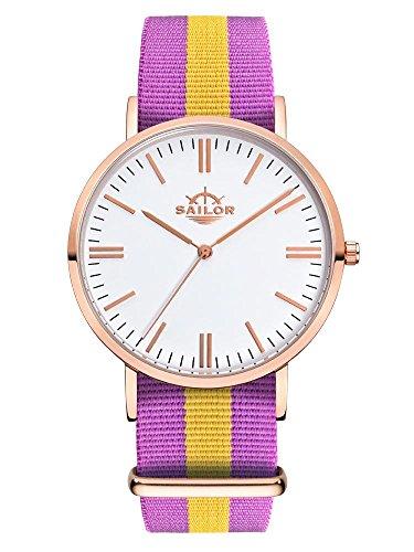Sailor Armbanduhr Classic Port Antonio mit Nylonarmband Farbe Ziffernblatt weiss Durchmesser 40mm