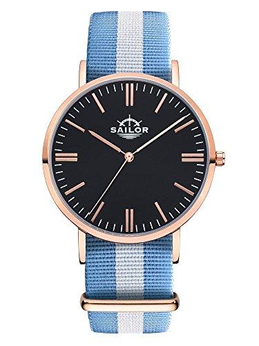 Sailor Armbanduhr Classic Sail mit Nylonarmband Farbe Ziffernblatt schwarz Durchmesser 40mm